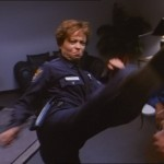 Officer Steele kicks out