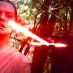 Rey is confronted by Kylo Ren