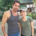 Scott with Jeeja Yanin on the set of Hard Target 2