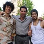 Kazu Patrick Tang R with Scott Adkins and Charlie Ruedpokanon L