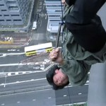 Nicholas Tse performed his own stunt down the side of a building