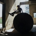 A derelict concrete building proves to be a great location to showcase Deans free running skills