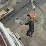 An incredible stunt fall onto the concrete below