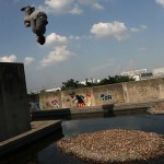 Gainer somersault off a ledge