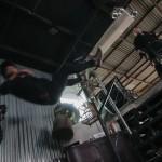 The stuntmen take some heavy falls