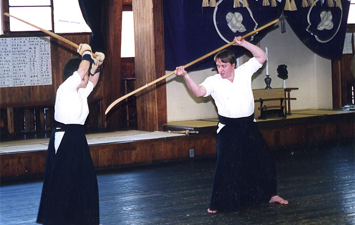 Young Alex practicing with the Naginata