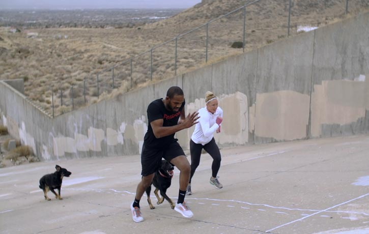 Jon Jones goes for a run with Holly Holm