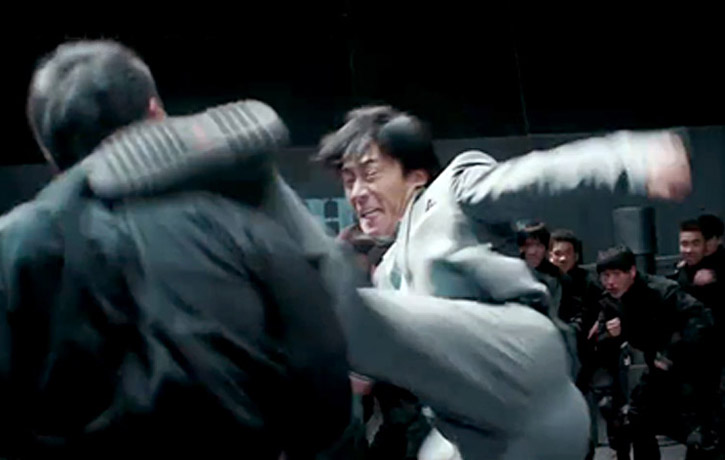 Wu Lin fells his enemy with a roundhouse kick
