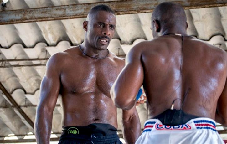 Idris Elba in ring sparring