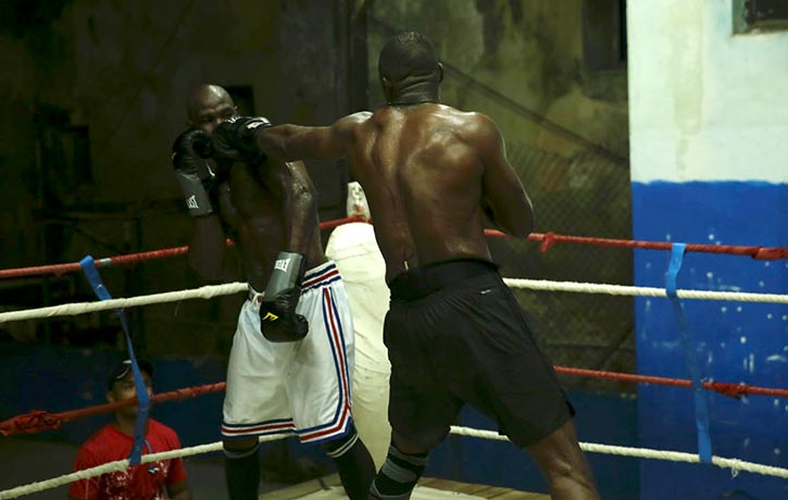 Idris lands a jab on Cuban Olympic boxing medallist Emilio Correa
