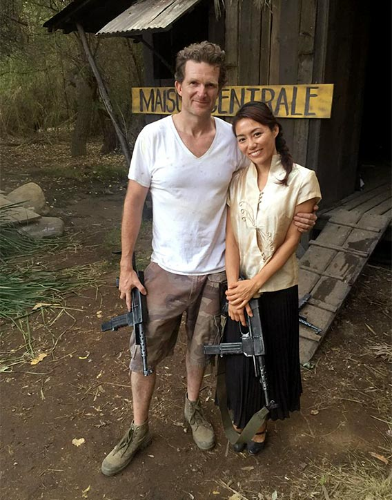 Jesse with Juju Chan on the set of Savage Dog