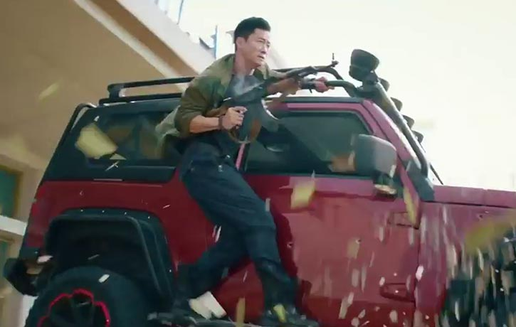 Leng Feng rides into action