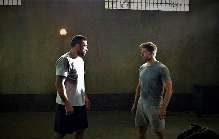 Alain with MMA champ Fabricio Werdum on the set of Kickboxer Retaliation