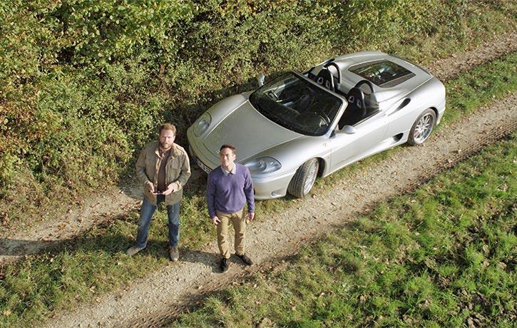 Enjoying a Ferrari ride in the countryside cest la vie