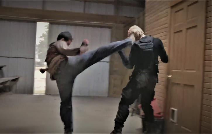 Jack lands a picture perfect roundhouse kick