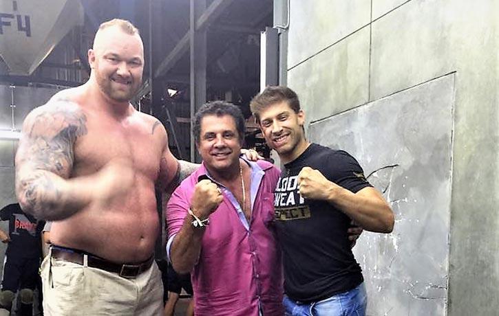 Dimitri with Alain Moussi and the MOUNTAIN of Kickboxer Retaliation Hafthor Bjornsson