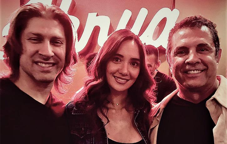 Dimitri with Kickboxer stars Alain Moussi Sara Lane