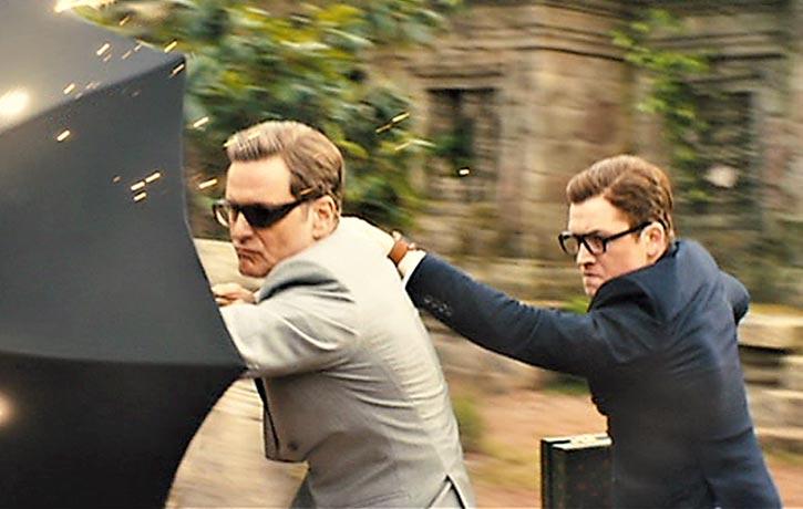 Harry deflects an assault with his bulletproof umbrella