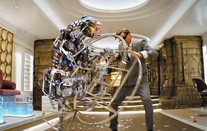 Harry holds off one of Poppy Adams vicious robo dogs