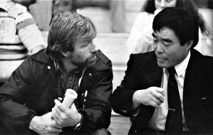 Karate legends side by side Chuck Norris with Fumio Demura