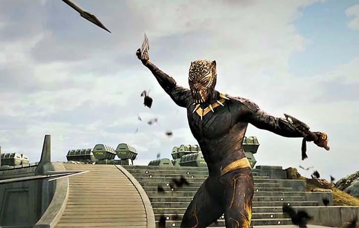 Killmonger dons his Golden Jaguar suit
