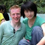 Mike takes a breather with Luxia Jiang on the set of Coweb
