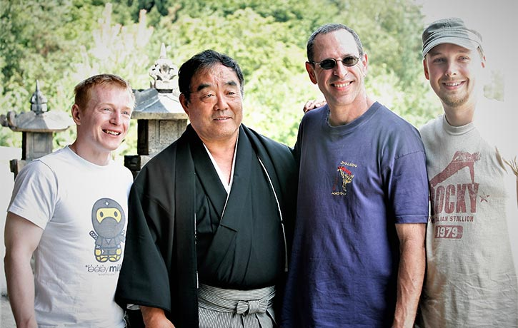 Mike with many legends on the set of Ninja