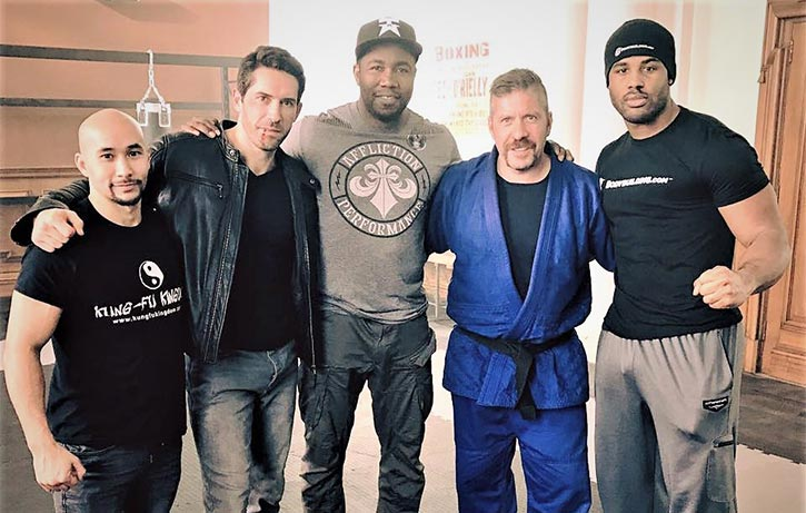 Scott with Tim Man Michael Jai White and Ray Park on the set of Accident Man 1