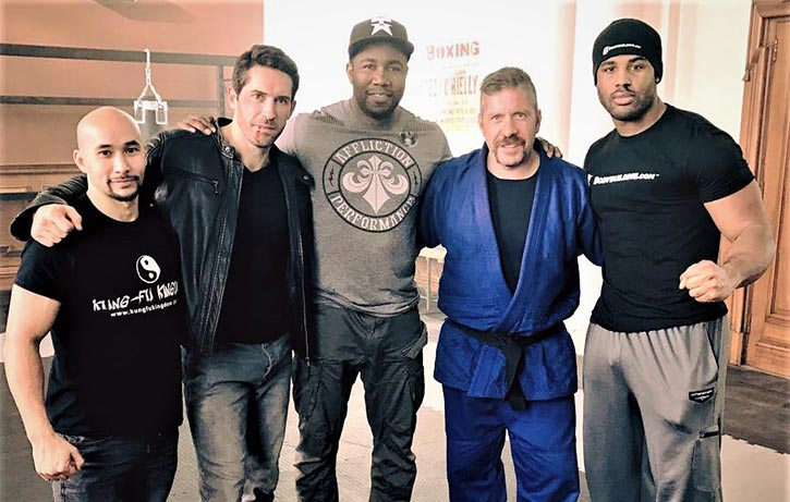 Scott with Tim Man Michael Jai White and Ray Park on the set of Accident Man