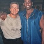 Mike with Jean-Claude Van Damme on the set of Universal Soldier -The Return