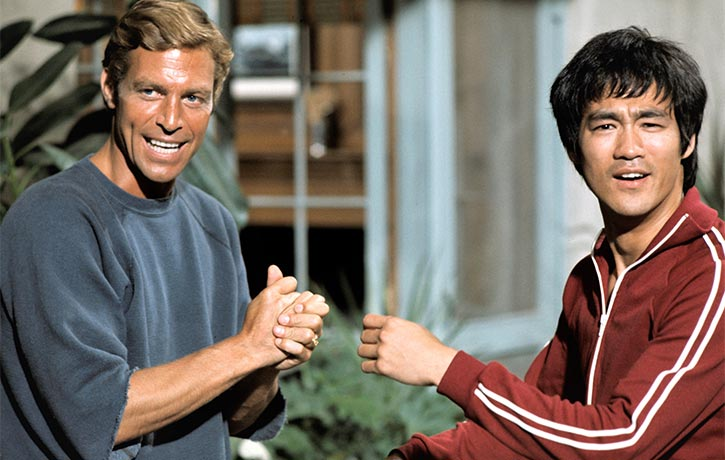Bruce Lee with James Franciscus on Longstreet set Credit - ABC Getty Images