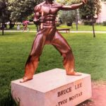 The worlds first Bruce Lee statue was erected in Zrinjevac City Park Mostar in Bosnia November 27 2005 KPZfoto