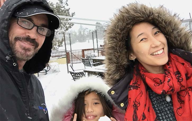 Gary with family on a snowy day!