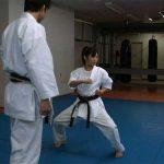 Sensei Matsumura oversees Kei's kata training