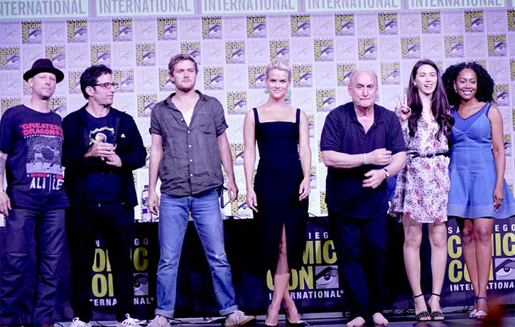 Clayton with Raven Metzner Jeff Loeb and the cast of Iron Fist at the 2018 San Diego Comic Con