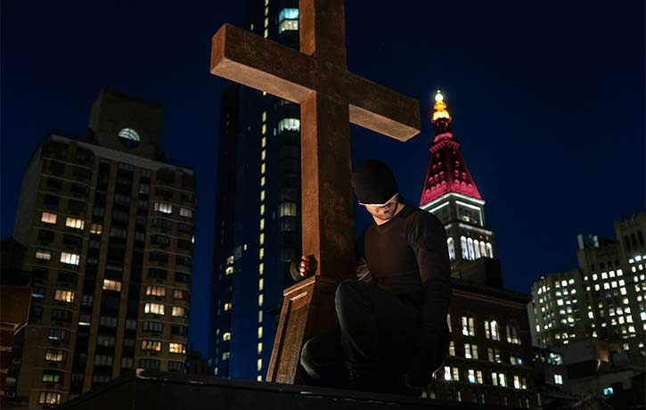 Matt watches over the streets of Hells Kitchen as Daredevil