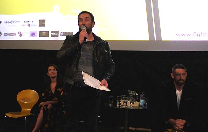 Bryan Larkin accepts his best actor award