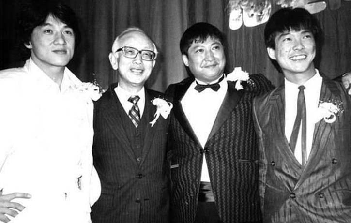 Three of Golden Harvests biggest stars Jackie Chan, Sammo Hung and Yuen Biao with Raymond Chow