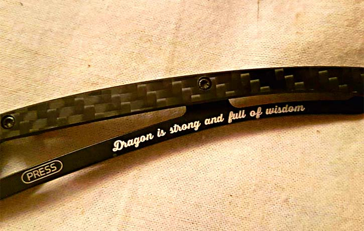 Engraved words close up