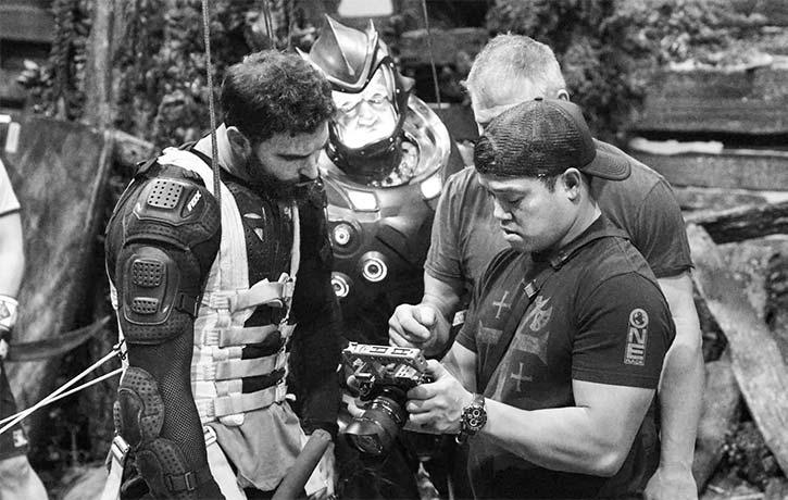 Jon preps for a scene with the films stunt men