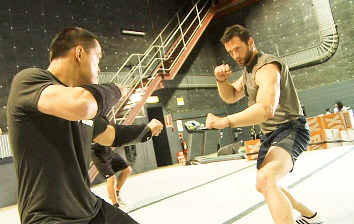 Jon trains with Hugh Jackman for The Wolverine