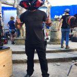 Jon tries on Black Mantas helmet for size 1