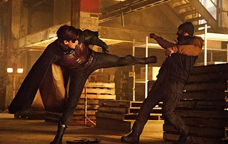 Robin lands a solid spinning back kick