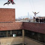 Garrett films a major stunt on the set of Divergent