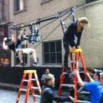 Garrett helps set up a stunt