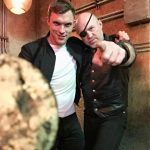 Garrett with Ed Skrein on the set of Alita Battle Angel