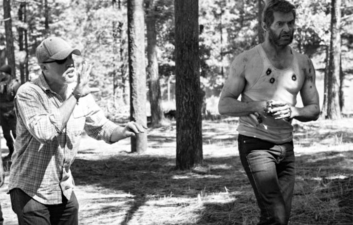 Garrett with Hugh Jackman on the set of Logan