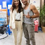 Tony with Celina Jade on the set of Triple Threat