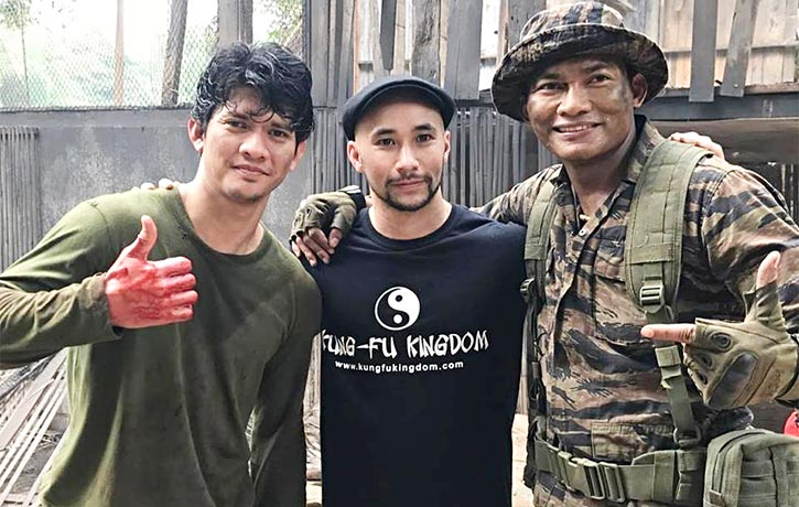 Tony with Iko Uwais and Tim Man on the set of Triple Threat