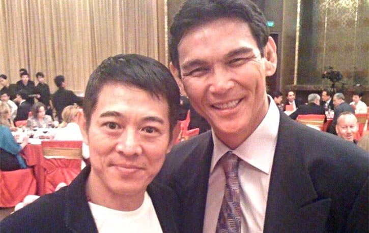 Don alongside wushu master Jet Li